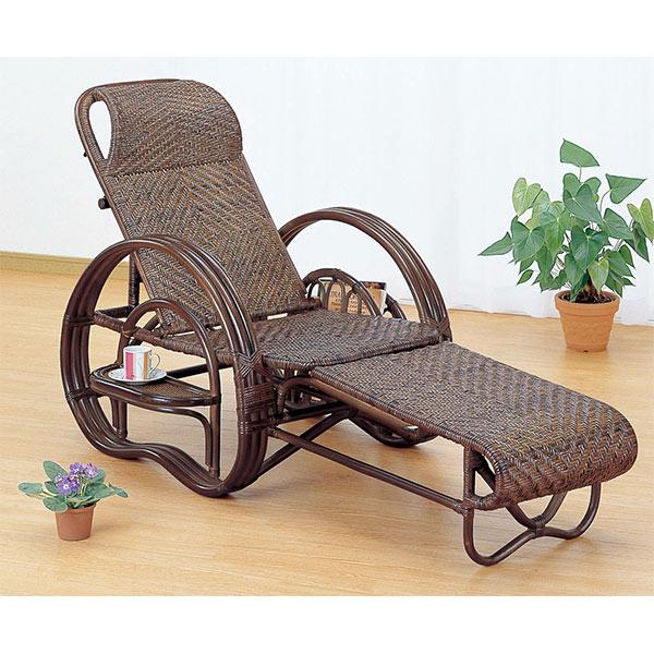 寝椅子 ラタン カウチソファ 三つ折り 籐家具 ダークブラウン 座面高35cm( 送料無料 イス チェア アジアン )