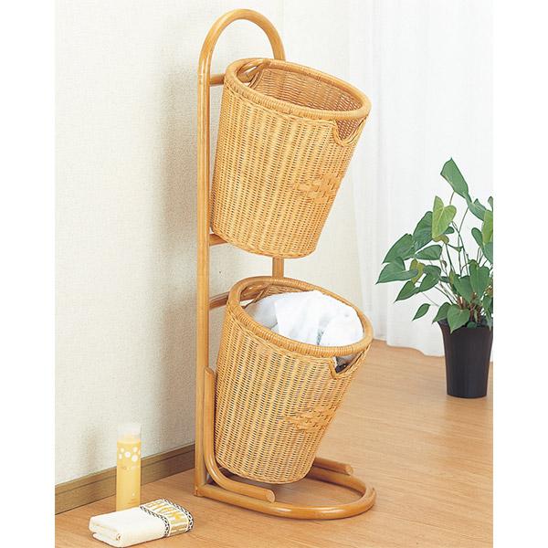 ランドリーバスケット 2段 ラタン 洗濯かご 籐家具 幅36cm ( 送料無料 洗濯かご アジアン )