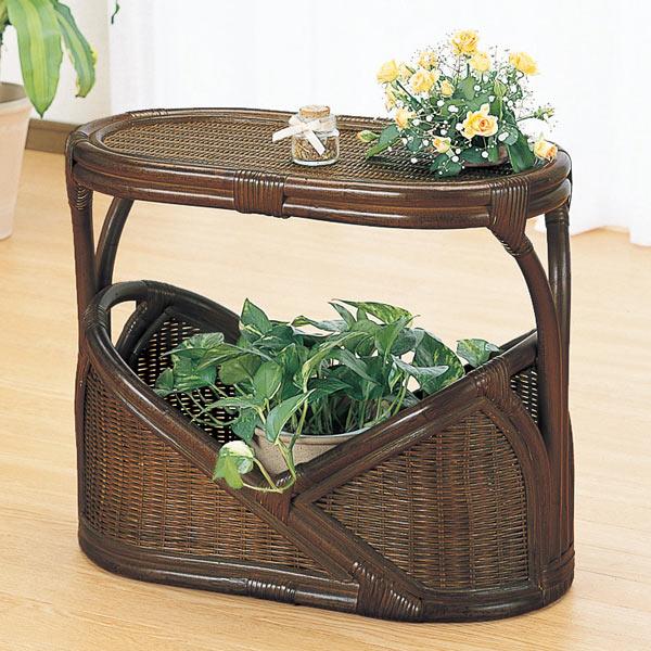 ラタンテーブル 楕円形 マガジンラック 籐家具 幅59cm( 送料無料 サイドテーブル アジアン )