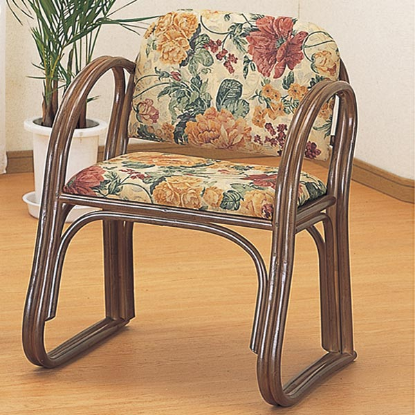ラタンチェア ハイタイプ 座椅子 籐家具 座面高43cm ( 送料無料 一人掛け ソファ 背もたれ付き 肘付き 肘掛 イス チェア 座いす アジアン 一人用 )