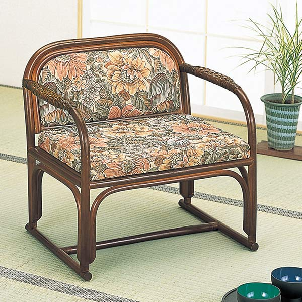 ラタンチェア 幅広タイプ 椅子 籐家具 座面高32cm( 送料無料 正座椅子 背もたれ付き 肘付き 肘掛 イス チェア 座いす アジアン )