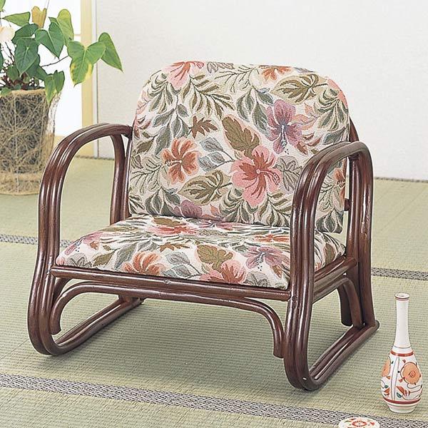 籐〔ラタン〕 思いやり座椅子 デラックス ロータイプ 送料無料( 正座椅子 背もたれ付き 肘付き 肘掛 イス チェア 座いす アジアン )