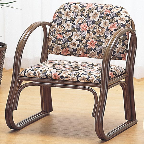 籐〔ラタン〕 思いやり座椅子 ミドルタイプ 送料無料( 一人掛け ソファ 背もたれ付き 肘付き 肘掛 イス チェア 座いす アジアン 一人用 )
