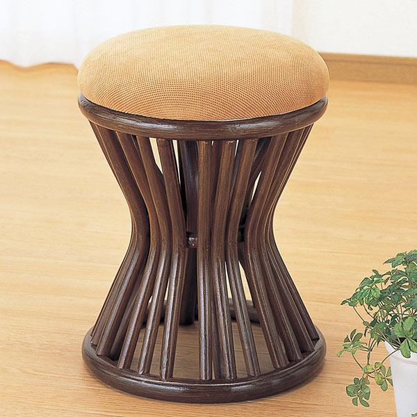 スツール 円形 クッション付 籐家具 高さ44cm( 送料無料 椅子 イス チェア アジアン )