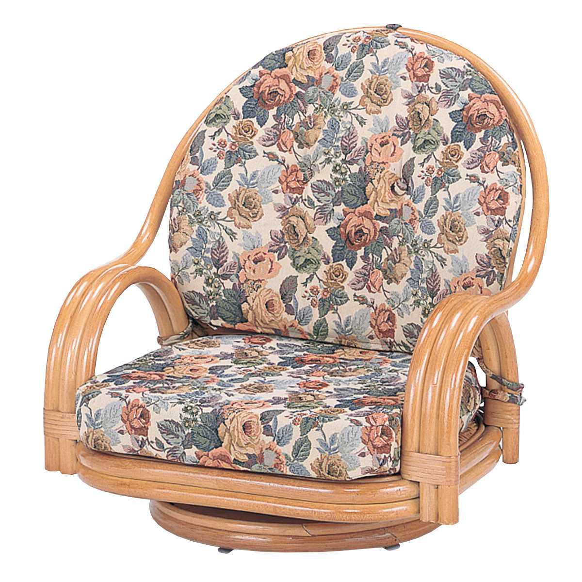 回転座椅子 ロータイプ ラタンチェア 籐家具 座面高19cm ( 送料無料 椅子 イス アジアン )