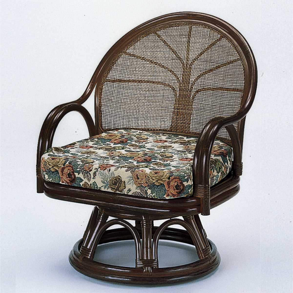 籐〔ラタン〕 回転座椅子 ワイド ( アジアン リラックスチェア イス 座いす チェア ソファ 1人掛け 幅広 籐製 天然素材 )