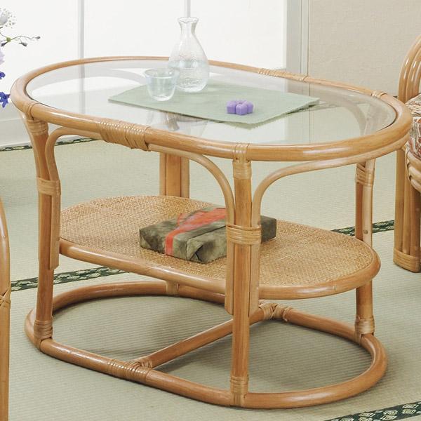 ラタンテーブル 楕円形 ガラス天板 ローテーブル 棚付 籐家具 幅75cm ( 送料無料 センターテーブル アジアン ラタン家具 )