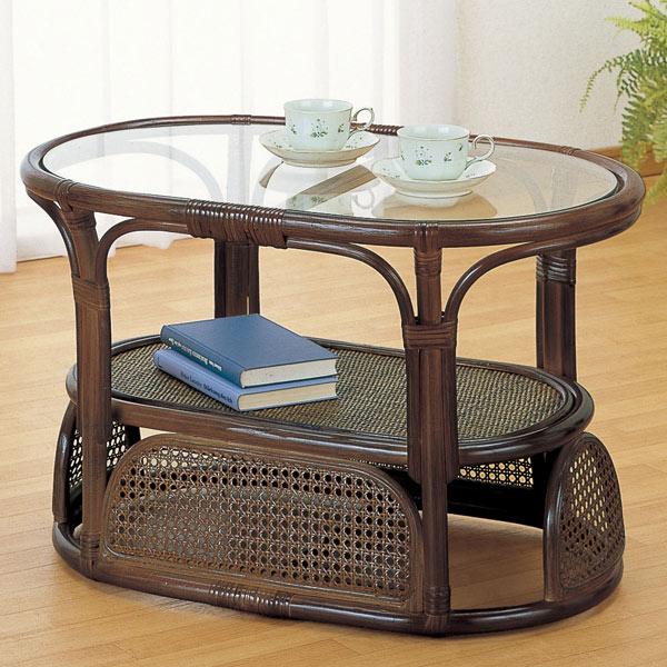 ガラステーブル ラタン ローテーブル 籐家具 ( 送料無料 センターテーブル アジアン )