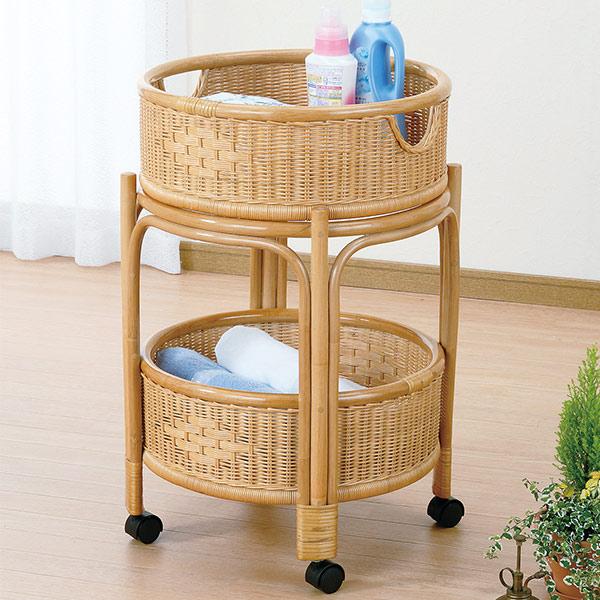 ランドリーバスケット 2段 ラタン 円形 キャスター付 籐家具 直径46cm ( 送料無料 洗濯かご アジアン )