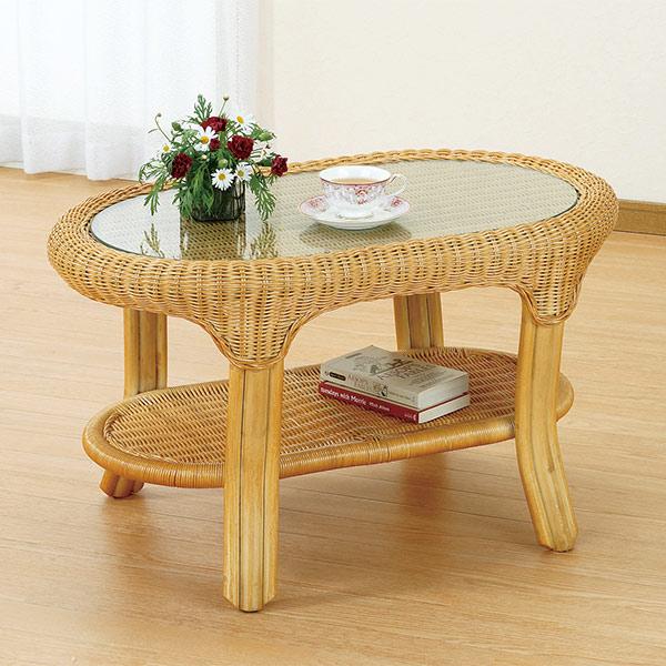 ラタンテーブル 籐家具 オーバル ガラス天板 幅79cm ( 送料無料 センターテーブル アジアン ラタン家具 )