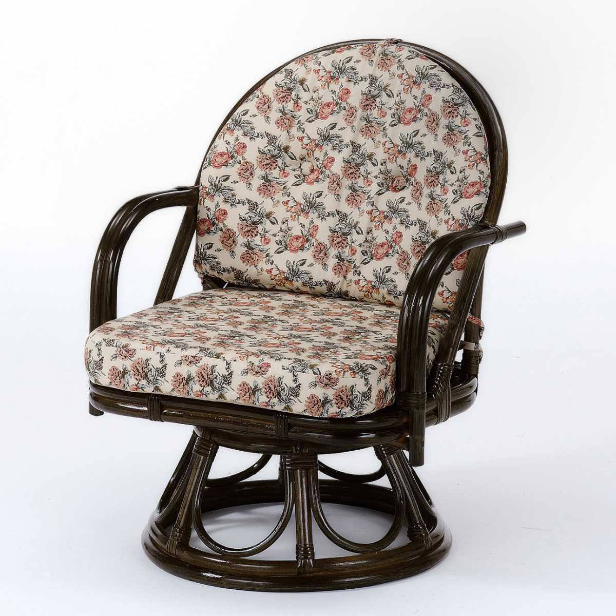 回転座椅子 ラタン ミドルハイタイプ 籐家具 座面高35cm ( 送料無料 イス チェア アジアン )