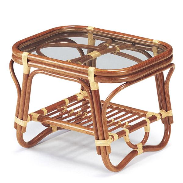 籐 ガラステーブル ラタンテーブル 幅60cm ( 送料無料 ラタン家具 アジアン家具 テーブル 机 つくえ リゾート 手編み 収納スペース付き 透明 アジアン )