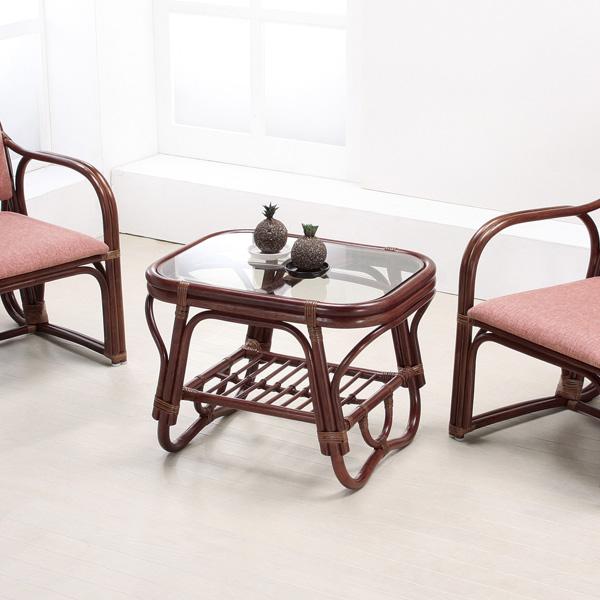 籐 ガラステーブル ラタンテーブル 幅60cm ( 送料無料 アジアン家具 ラタン家具 テーブル 机 つくえ ローテーブル リゾート 手編み 収納スペース付き 透明 アジアン )