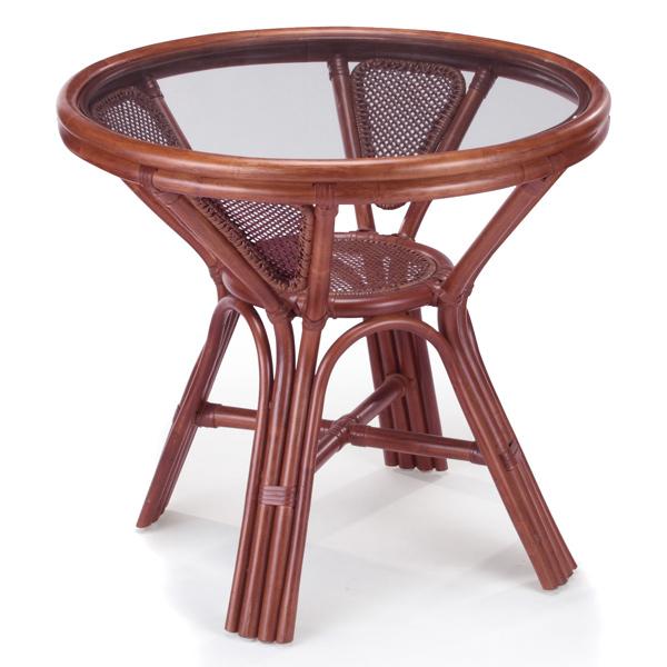 籐 ダイニングテーブル ガラステーブル 丸型 直径75cm ( 送料無料 ラタン家具 アジアン家具 テーブル 机 つくえ 円 正円 リゾート 手編み 収納スペース付き 脚付き 透明 アジアン )