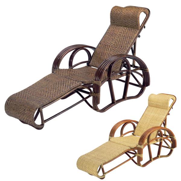 籐 リクライニングチェア スライド式オットマン ラタン製 C104CN 座面高33cm ( 送料無料 椅子 イス いす ラタン家具 アジアン家具 リクライニング リクライニングチェアー コンパクト チェア チェアー 座椅子 シェーズロング 折りたたみ )