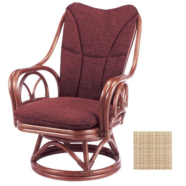 ラタンチェア 回転座椅子 背もたれクッション付 シィーベルチェア 228DF 座面高38cm ( 送料無料 ラタン家具 アジアン家具 チェア 座椅子 シーベルチェア シィーベルチェアー 座いす 椅子 イス )
