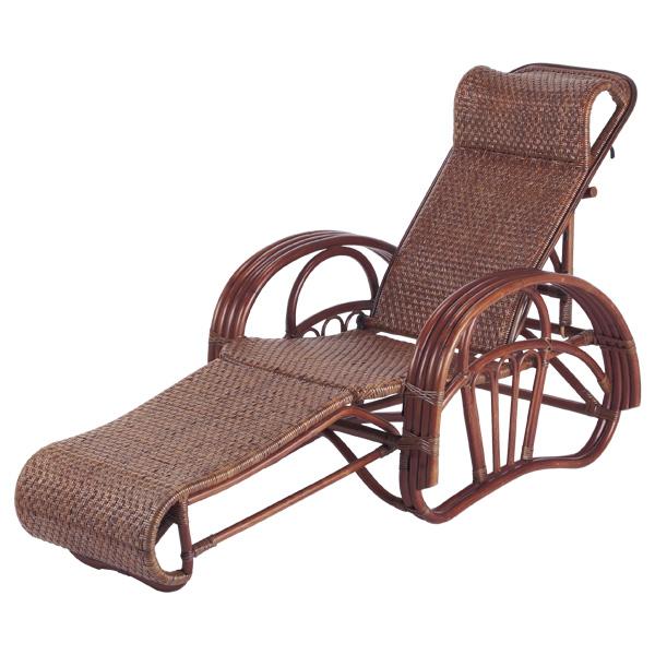 籐 リクライニングチェア スライド式オットマン ラタン製 C106D 座面高33cm ( 送料無料 椅子 イス いす ラタン家具 アジアン家具 リクライニング リクライニングチェアー コンパクト チェア チェアー 座椅子 シェーズロング 折りたたみ )