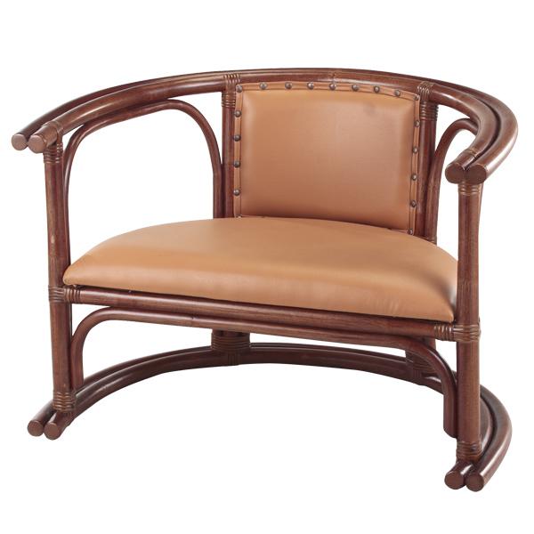 籐 ラタンチェア 肘掛け座椅子 高さ27cm ( 送料無料 アジアン家具 ラタン家具 座椅子 チェア イス いす チェアー 座いす 肘かけ 肘掛け 高級感 合成皮革 丸み )