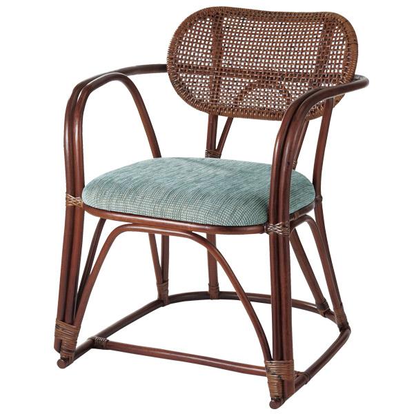 籐 ラタンチェア アームチェア 48D 座面高43cm ( 送料無料 アジアン家具 ラタン家具 椅子 チェア イス いす アームチェアー チェアー 肘掛け 肘かけ 丸み )