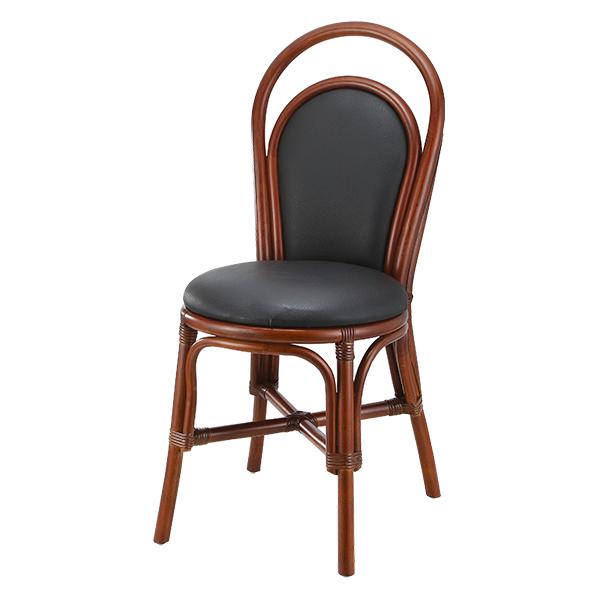 籐 椅子 ダイニングチェア 円形座面 背もたれクッション付 座面高45cm ( 送料無料 チェア ダイニングチェアー チェアー イス いす 完成品 ラタン ダイニング 食卓 食卓椅子 シンプル ナチュラル 和風 アジアン エスニック )