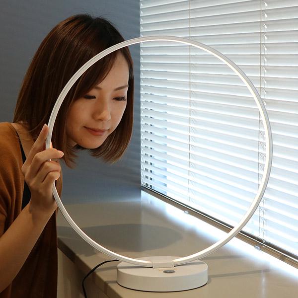照明 LED 無段階 調光 タッチセンサーライト テーブルランプ 間接照明 ( 送料無料 照明器具 卓上 ライト スタンドライト 円型 リング型 LED内蔵 テーブルライト ランプ 卓上ライト テーブルスタンド 卓上 床置き フロア テーブル )
