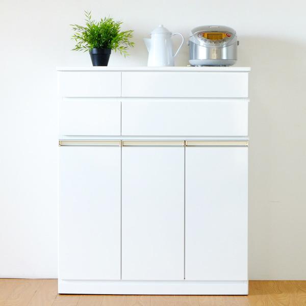 キッチンカウンター 食器棚 キャビネット グロス塗装 PEARL 幅82cm ( 送料無料 キッチンボード キッチン収納 間仕切り 完成品 キッチン カウンター リビング収納 収納 食器 台所 作業台 レンジ台 ストッカー 可動棚 )