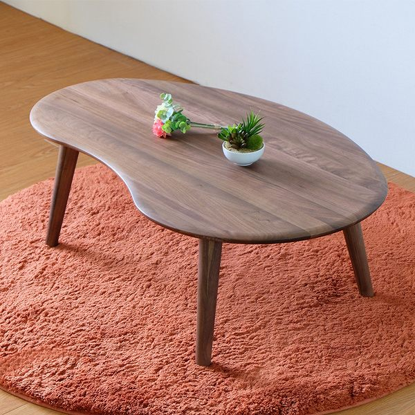 座卓 ローテーブル 天然木 オイル仕上げ MOFY 幅100cm ウォールナット ( 送料無料 センターテーブル 机 デスク 完成品 テーブル リビングテーブル コーヒーテーブル 丸い 楕円形 木製 無垢材 おしゃれ 一人暮らし 茶色 ブラウン )