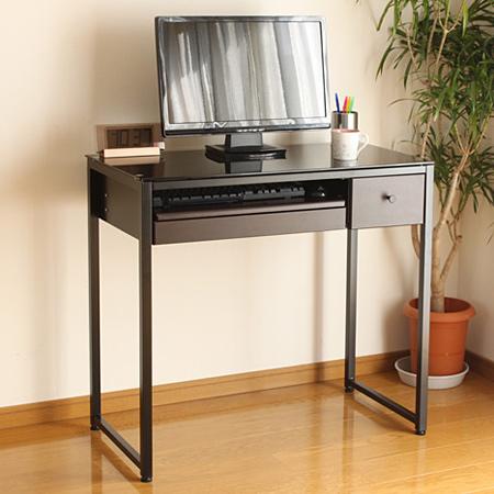PCデスク 強化ガラス天板 スチールフレーム製 幅85cm ( 送料無料 CD収納 スライドトレー付き パソコンデスク ラック シンプル PC机 )