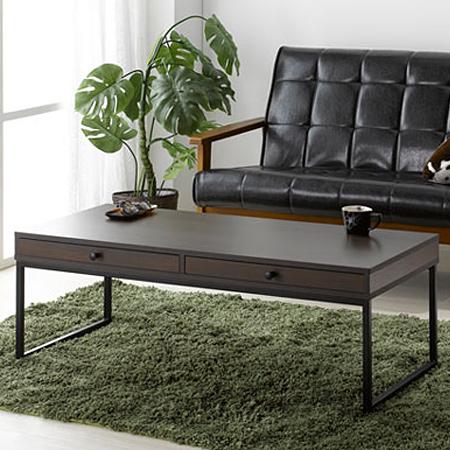 ローテーブル 木目調ダークブラウン 幅110cm スチールフレーム脚 組立式 ( 送料無料 リビングテーブル センターテーブル 引き出し 収納 机 デスク コーヒーテーブル 座卓 )