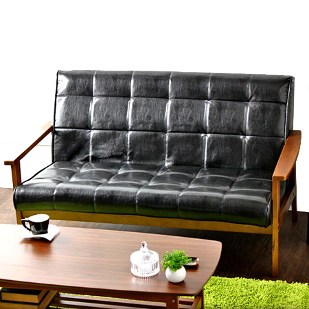 Sofa Chairs Retro Wood Frame 2 5 Seat With Leather Like Two Chair Nostalgic Mid Century Vintage Furniture 05p09jan16