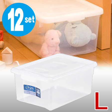 収納ケース OR Lサイズ 12個セット ( 小物入れ タオル 収納 衣装ケース 送料無料 プラスチック フタ付き 蓋付き 収納ボックス おもちゃ オリオン 小型 衣類収納 )