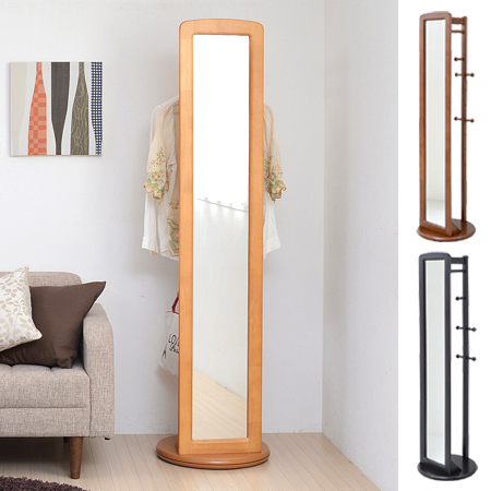 Rotate Hanger With Mirror Hanger Rack (wooden Full Length Mirror Body  Clothes Hang Hanger Hung Door Storage Ministry Of Space Compact) 05P12Oct15