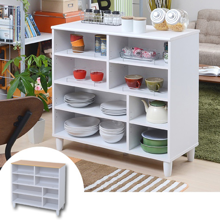 Kitchen Counter Parion Width 90 Cm White Storage Display Rack Double Sided Shelves Shelf Cabinet