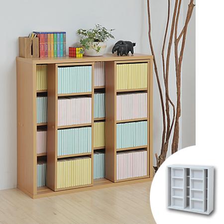 Double Slide Bookshelf Paperback Book Comic Storage Cd Dvd Shelves Movable Wooden Living Cartoon Open Rack Multipurpose