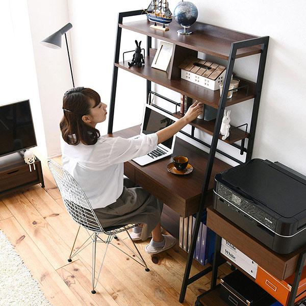 パソコンデスク 高さ調節 2WAY 幅91cm ( 送料無料 多機能デスク 勉強机 学習机 上部収納 収納 本棚付き ワーキングデスク ワークデスク デスク つくえ 机 スチール )