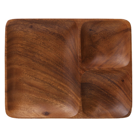 Acacia wood plate three partition ?? wooden tableware (wood wake-up plate Cafe plates plate square lunch plate natural) 05P19Dec15  sc 1 st  Rakuten & livingut | Rakuten Global Market: Acacia wood plate three partition ...