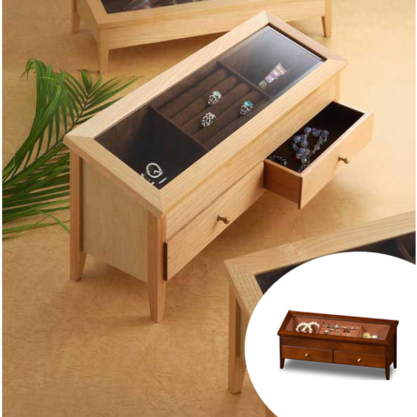 コレクションケース 木製 ワイドジュエルM 幅44cm ( 送料無料 アクセサリー ケース 収納 ボックス ジュエリー スタンド BOX 木製 高級感 コレクション 飾る アクセサリー収納 アクセサリーボックス おしゃれ )