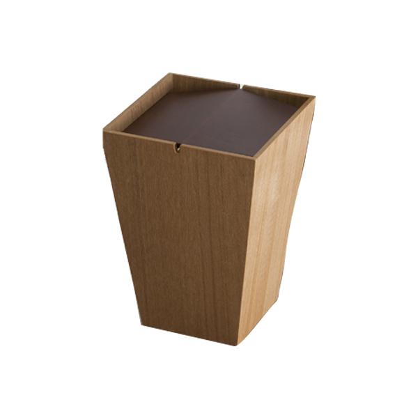 ゴミ箱 ダストボックス 木製 フラップ付 ルーフL 26.5cm角 ナチュラル ( 送料無料 ごみ箱 ダストBOX 木製 おしゃれ シンプル 四角 蓋付き フタ付き ふた付き リビング 寝室 ナチュラル ブラウン 回転蓋 コンパクト )