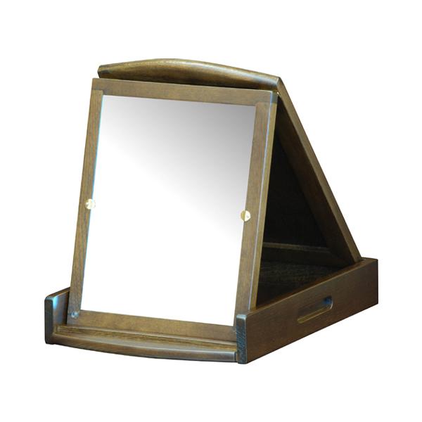 卓上ミラー 折鏡 一面タイプ 天然木 幅26.5cm ( 送料無料 ミラー 鏡 木製 卓上 スタンドミラー コンパクトミラー 折りたたみ 折立ミラー ドレッサー コンパクト 木製フレーム 高級感 ブラウン メイクアップ )