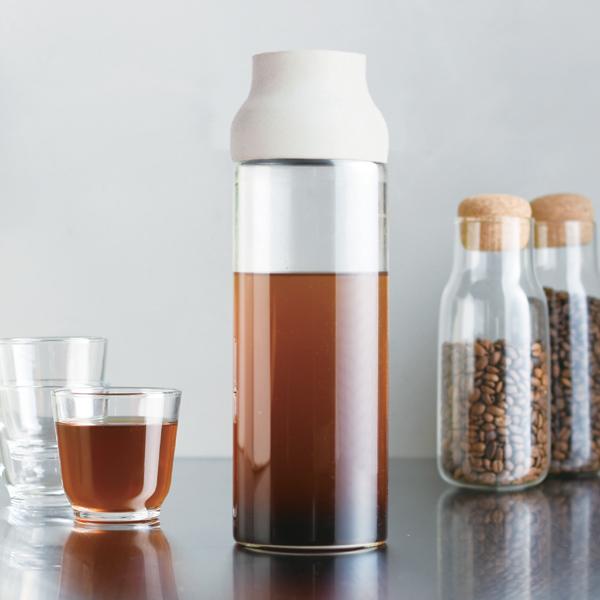 キントー KINTO 冷水筒 ピッチャー 耐熱 1L ガラス CAPSULE カプセル ウォーターカラフェ 水差し 麦茶ポット ( 食洗機対応 電子レンジ対応 ポット 麦茶 水差しポット 冷水ポット 1リットル ホワイト )