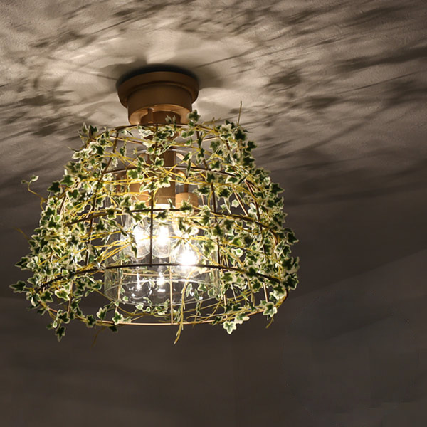 シーリングライト 3灯 アイビー ボタニカル 天井照明 LED対応 CT触媒 ( 送料無料 照明 ライト おしゃれ ペンダント LED e26 フェイクグリーン 葉っぱ リーフ 電球 引っ掛けシーリング 壁スイッチ 廊下 玄関 )
