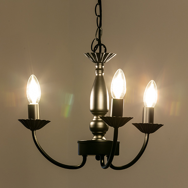 照明 3灯 シャンデリア LED クラシック 天井照明 ( 送料無料 照明器具 ライト ペンダントライト 天井 アイアン 鉄 装飾 クラシカル アンティーク調 ヨーロピアン カフェ アンティーク調 LED 電球 )