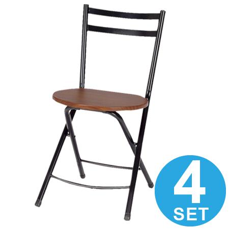 フォールディングチェア 折りたたみ椅子 ブラウン 4脚セット ( 送料無料 折り畳み パイプ椅子 イス いす チェアー )