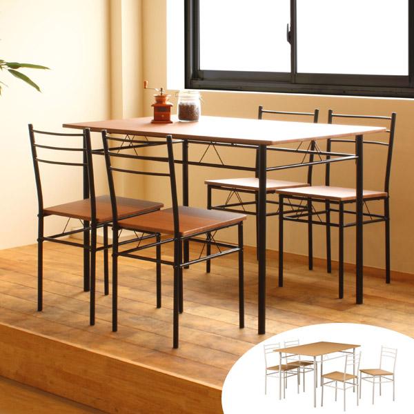 ダイニング5点セット スチールフレーム 木目調天板 幅120cm ( 送料無料 テーブル チェア ダイニングテーブル ダイニングチェア ダイニングセット セット 食卓 つくえ 机 デスク 椅子 いす イス )