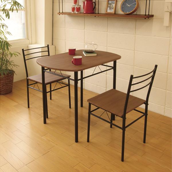 ダイニング 3点セット スチールフレーム テーブル チェア2脚 ブラウン ( 送料無料 ダイニングテーブルセット ダイニングテーブル ダイニングチェア 2人 2人掛け 2人用 幅80cm 80cm 3点 ブラック 黒 セット ダイニング )