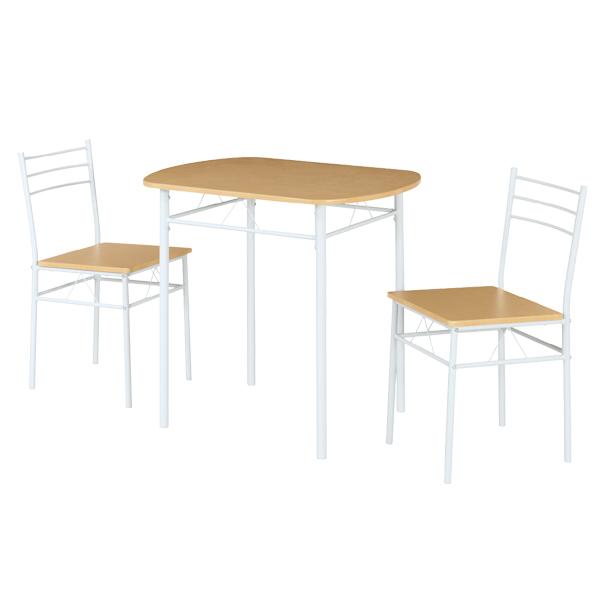 ダイニング 3点セット スチールフレーム テーブル チェア2脚 ナチュラル ( 送料無料 ダイニングテーブルセット ダイニングテーブル 2人 2人掛け 2人用 幅80cm 80cm 3点 白 セット ダイニング ダイニングチェア ホワイト )