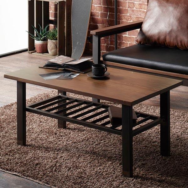 センターテーブル 幅90cm エヴァンス 天然木 スチール脚 木製 ローテーブル ( 送料無料 テーブル リビングテーブル コーヒーテーブル 机 長方形 カフェテーブル 収納 棚 リビング 90 センチ おしゃれ )