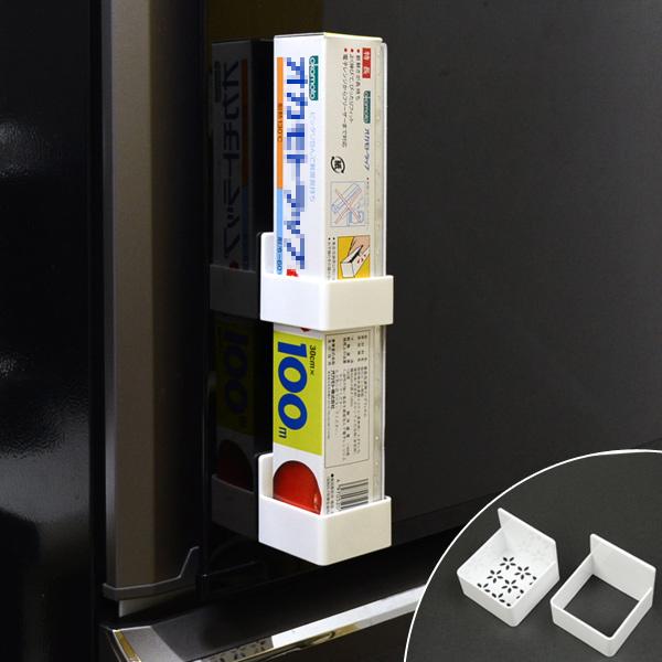セパレートタイプで高さ調節自由自在の粘着タイプラップホルダー 壁面収納 冷蔵庫横 キッチン収納 ラップホルダー スマートラップホルダー セパレートタイプ 収納 粘着タイプ スタンド いつでも送料無料 ラップ立て 店内限界値引き中 セルフラッピング無料 高さ調節自由自在 整理