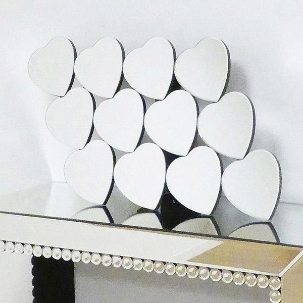 ハート12ミラー 壁掛け ウォールミラー ( 送料無料 鏡 姿見 ミラー かがみ 壁掛けミラー スタンドミラー ハート形 玄関 洗面所 メイクルーム ドレッサー )