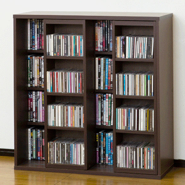 Livingut Cd Rack Shelf Slide Shelf Depth Width 90 Cm Brown